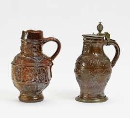 Pitcher with relief frieze and jug with floral decor