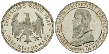 GERMANY 5 MARK 1927 F