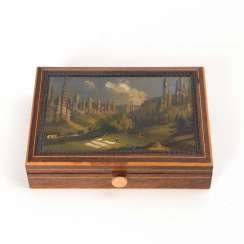Box with landscape painting.