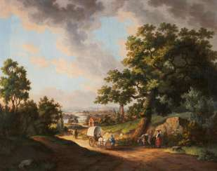 Wide landscape with wagons