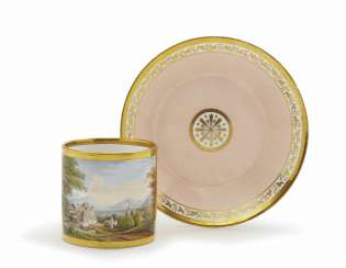 View Cup WITH saucer Nymphenburg, around 1800 - 1815, a painting perhaps Paul Böhngen