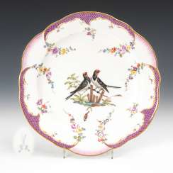 Baroque plate with bird painting Meissen.