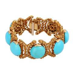 Bracelet with 7 round turquoise cabochons, approx. 18 mm,