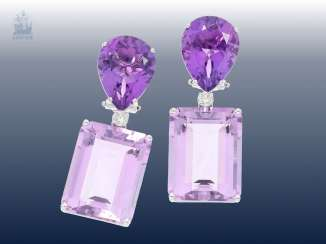Earrings: very attractive and high quality Designer diamond/Amethyst earrings from the house of Mangiarotti, Italian handcrafted, 18K white gold