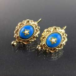 Historicism-earrings: sparkling gold 585, blue enamel and Oriental pearls, circa 1880 in excellent condition in original box.