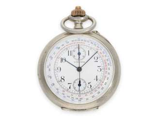 Pocket watch: very beautiful silver Longines pocket watch Chronograph