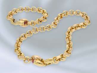 Chain/necklace/bracelet: exceptionally massive Designer necklace with matching bracelet, high quality goldsmith work in 18K Gold