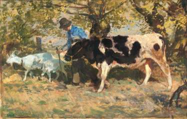 Farmer with a cow and goats