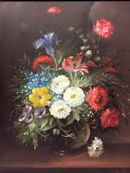 M. Raymund: Sill-life / still life with Flowers, Oil on canvas in frame 20. Century, very good.