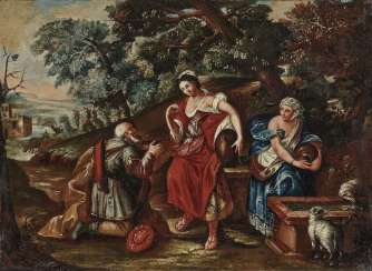 Rebekah and Eliezer at the well. Italy (?) 17. Century
