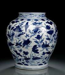 UNDER GLAZE BLUE DECORATED SHOULDER OF THE POT WITH 'LOTUS AND DUCK'DECOR