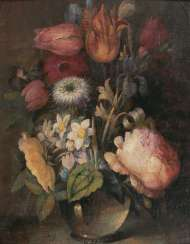 Flowers in a vase by Dutch master, active 18. Century