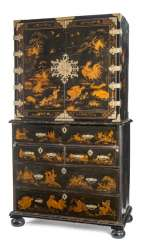 Top Cabinet hardware with lots of drawers, rich gold paint decoration and brass fittings