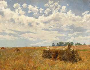 The Düsseldorf Painter: Sunny Harvest Landscape.
