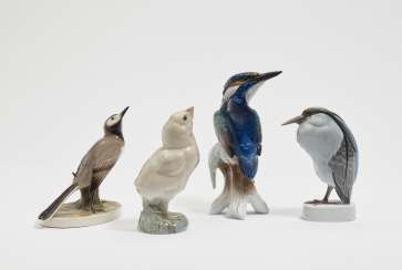 Chicks, white Wagtail, little egret and Kingfisher. Königl. Porcelain manufactory of Copenhagen and Nymphenburg and Rosenthal & a. Franz Blazek and Gerhard schliep stone