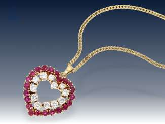 Chain/pendant: fine heart necklace with high quality ruby/diamond trimming, approx. 2ct