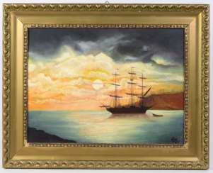 Sailing boat in the evening - arrow