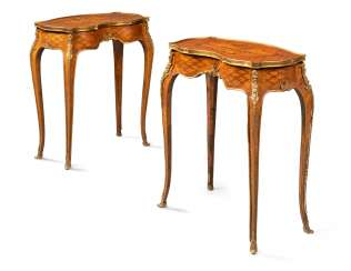 A PAIR OF FRENCH ORMOLU-MOUNTED KINGWOOD, ROSEWOOD, SATINWOOD, AND STAINED FRUITWOOD MARQUETRY OCCASIONAL TABLES