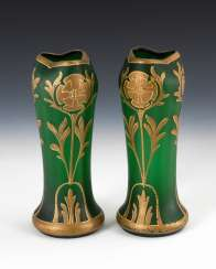 Pair of art Nouveau vases with gold decoration.