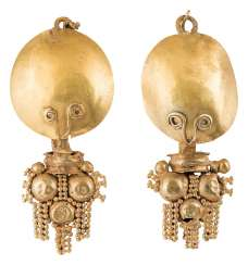 Pair of gold earrings with granulate decoration