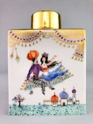 Large rectangular tea caddy with lid: Meissen porcelain 1001 Arabian nights, Gold decorated, Prof. Heinz Werner, very good.