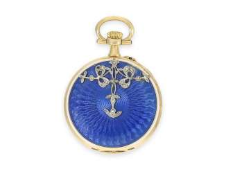 Pocket watch/Anhängeuhr: very fine Belle Epoque Gold/Emailleuhr with diamonds, presumably. Le Coultre, CA. 1900