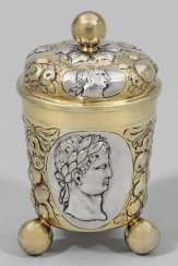 Baroque ball-foot lidded mug