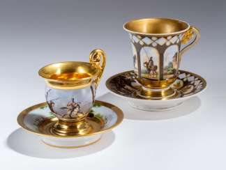 Two military - cups with saucers,