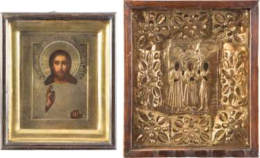 TWO ICONS WITH OKLAD IN THE ICON CASE: CHRIST PANTOCRATOR AND THE THREE HOLY