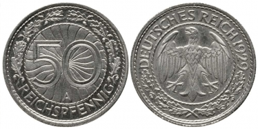 GERMANY 50 REICHSPFENNIG 1929 AND