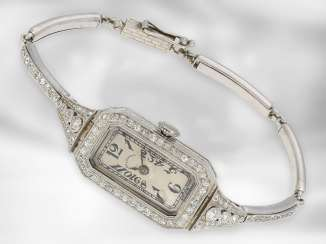 Watch: very high quality Art Deco ladies watch platinum with diamonds, by E. Koehn Geneve No. 85979, manufactured for Coldwell USA, CA. 1925