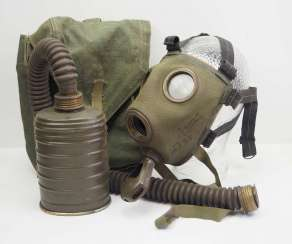 Poland: gas mask in pocket. Gas mask with hose and filter