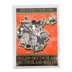 German Reich Propaganda - GREAT GERMANY map with quote from R.Hess,