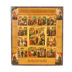Holiday icon with scenes from the life of Christ, Russia in the beginning of 19th century. Century,