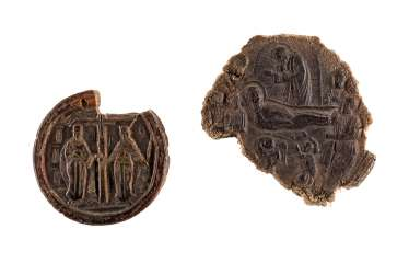 TWO RELIEF MEDALLIONS WITH THE DORMITION OF THE MOTHER OF GOD AND THE LAST SUPPER, AS WELL AS THE TEMPLE AND SAINTS CONSTANTINE AND HELENA