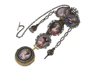 Pocket watch: a Museum and the only known Abraham Colomby Gold/enamel Spindeluhr with associated enamel Chatelaine, the former aristocratic, Geneva, about 1750