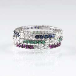 Set of 3 Memory-rings with rubies, sapphires, emeralds and brilliant-cut diamonds
