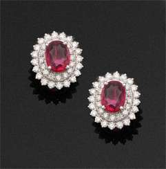 Pair of very fine ruby and diamond earrings