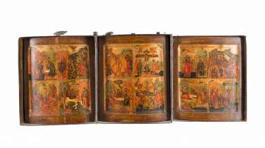 A FINE TRIPTYCH WITH THE HIGH STRENGTH OF THE ORTHODOX CHURCH YEAR IN MINIATURE PAINTING