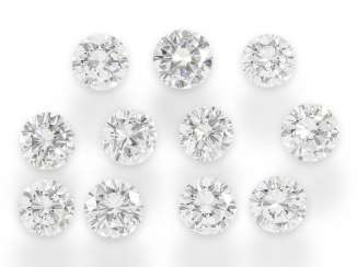 Brilliant: set of 11 round brilliant diamonds set in top quality, a total of approx. 6,02 ct