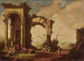 Ruins, landscapes with figure staffage. Italy (?) in the style of the 18th century. Century