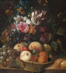 Pair of counterparts: style life with fruits and flowers. Abraham van Calraet