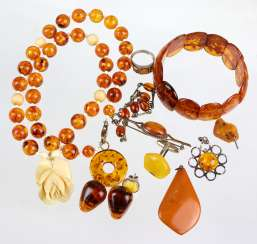 Items amber jewelry among others