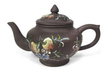 Yixing jug with colored pomegranate decor
