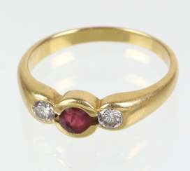 Rubin Brillant Ring - Gelbgold 750