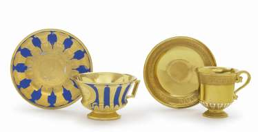 TWO bouillon cups WITH SAUCERS, Nymphenburg, 2. District 19. Century