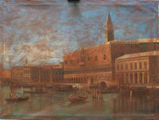 Apollonio Domenichini (1715-1770)-manner, Saint Marc Square with boats