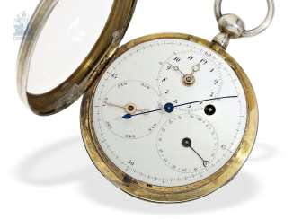 Pocket watch: technical interesting and rare early calendar clock with Central second, Switzerland around 1790