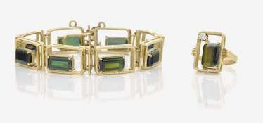 BRACELET AND RING WITH TOURMALINES