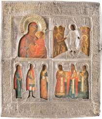 FOUR FIELDS ICON WITH THE MOTHER OF GOD, OF THE HADES JOURNEY OF CHRIST AND SELECTED SAINTS WITH RIZA